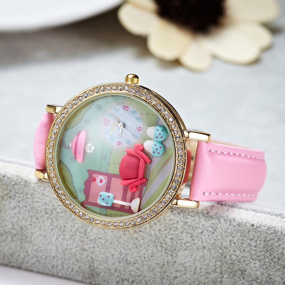 Miss Keke Clay Cute 3d Mini World Geneva roségoud Strass Horloges Relogio Feminino Dames Dames Lederen Horloges 1013