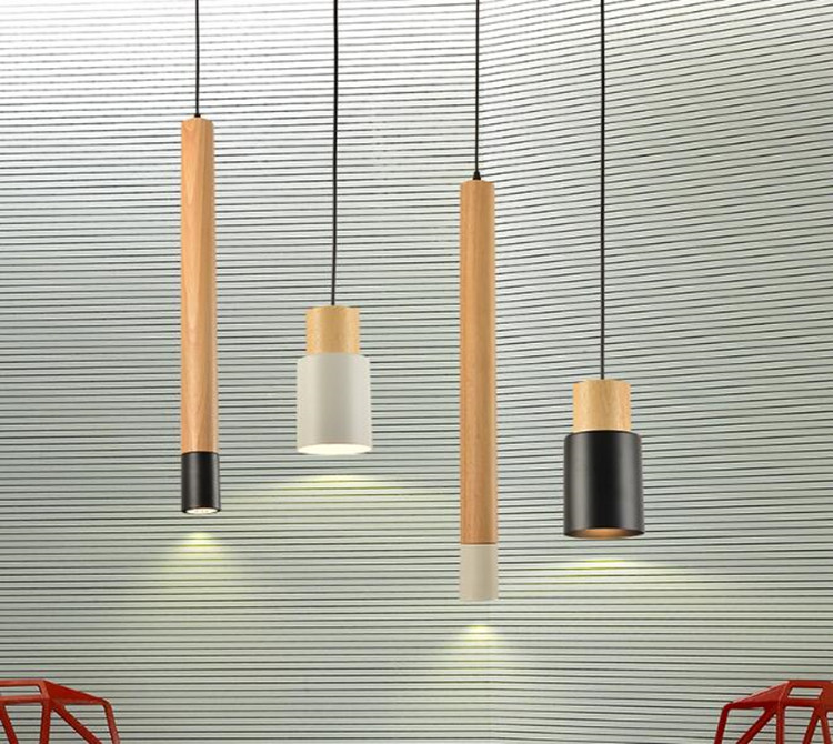 Nordic Creative Pendant Lights Japanese Style Solid Wood Cylinder Light for Living Room Bedroom Restaurant Bar Dectration Light