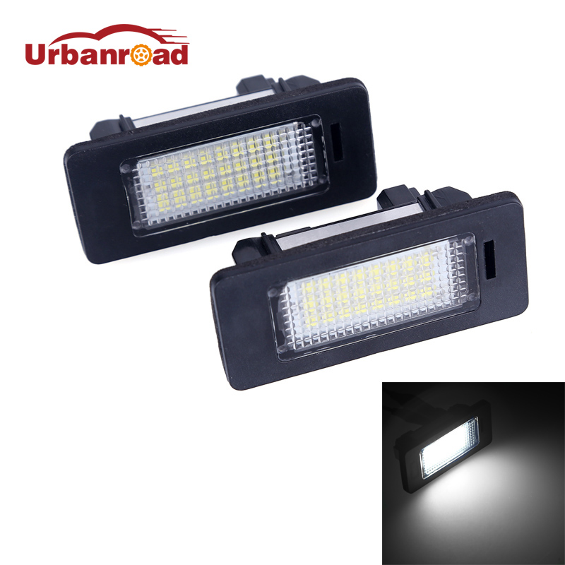 Urbanroad 2pcs 24SMD 2835 Car LED License Plate Light Lamp 6000K Error Free For BMW E39 M5 E70 E71 X5 X6 E60 M5 E90 E92 E93 M3 2x e marked obc error free 24 led white license number plate light lamp for bmw e81 e82 e90 e91 e92 e93 e60 e61 e39 x1 e84