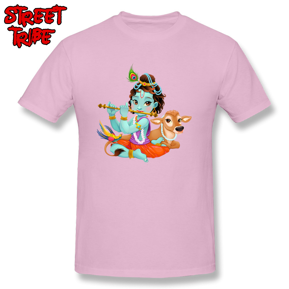Short Sleeve Tops Tees Round Collar 100% Cotton Men T-Shirt Baby Krishna with sacred cow Printing Tops T Shirt New Coming Baby Krishna with sacred cow pink
