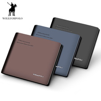 c13c3313782 WilliamPOLO Leather Wallet Men Short Wallet Business Brand Leather Card  Holder Money Cash Wallet Purses Pockets