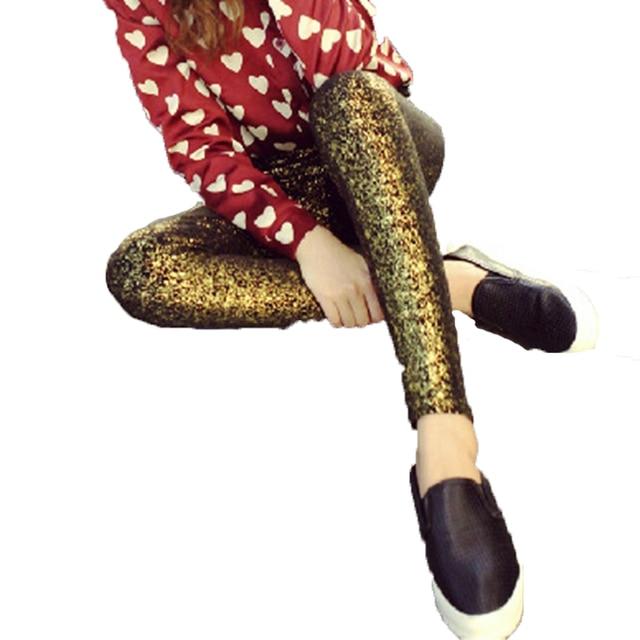 2016 лучших товаров женщин эластичные леггинсы сияющий и осень зима позолоченного серебра хлопок леггинсы высокое качество карандаш брюки