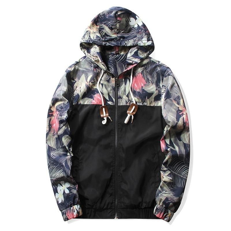Women's Hooded Jackets 2018 Autumn Causal Flowers Windbreaker Women Basic Jackets Coats Zipper Lightweight Jackets Bomber Famale