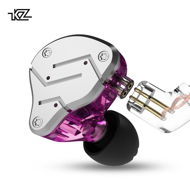 KZ ZSN 1BA + 1DD híbrido en la oreja auricular HIFI Monito correr deportes auriculares DJ auriculares auricular desmontable deach 2Pin Cable KZ BA10