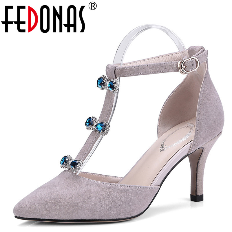 FEDONAS 2018 New Mary Janes Women Pointed Toe Pumps Genuine Leather Spring Summer Shoes High Heels Rhinestone Wedding Shoes цена