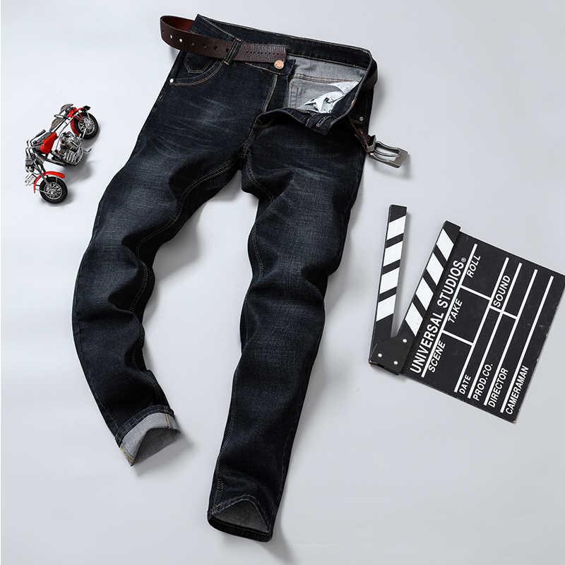 2019 秋春 Mid 重量男性カジュアルバイカーデニムジーンズパンツ固体スリムフィットジーンズ男性ストリートパンツ