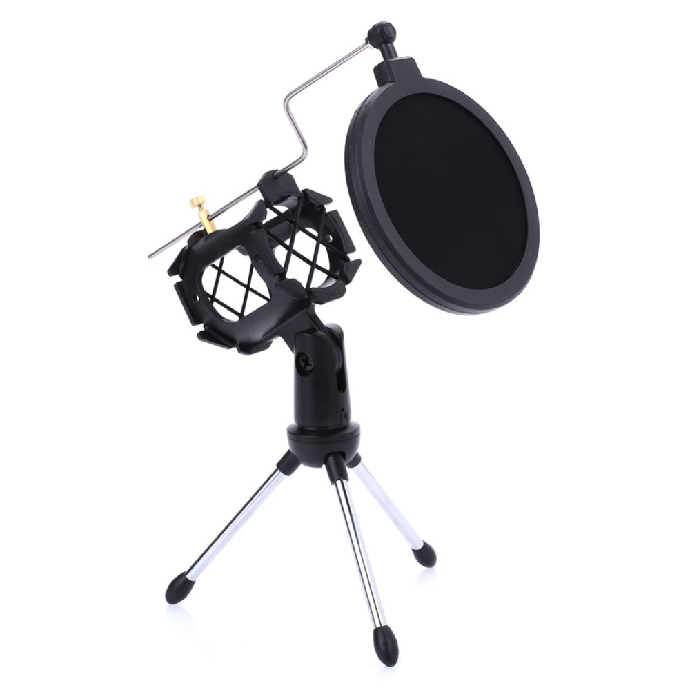 Microphone Tripod Stand Foldable Bracket Set Microphone Clip + Anti-spray Cover + Tripod Stand + Fixed Axis High Quality Refreshing And Enriching The Saliva