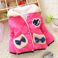 2016 New Winter baby girls outerwear thicker hooded with bow and letter print fashion girl coats clothes
