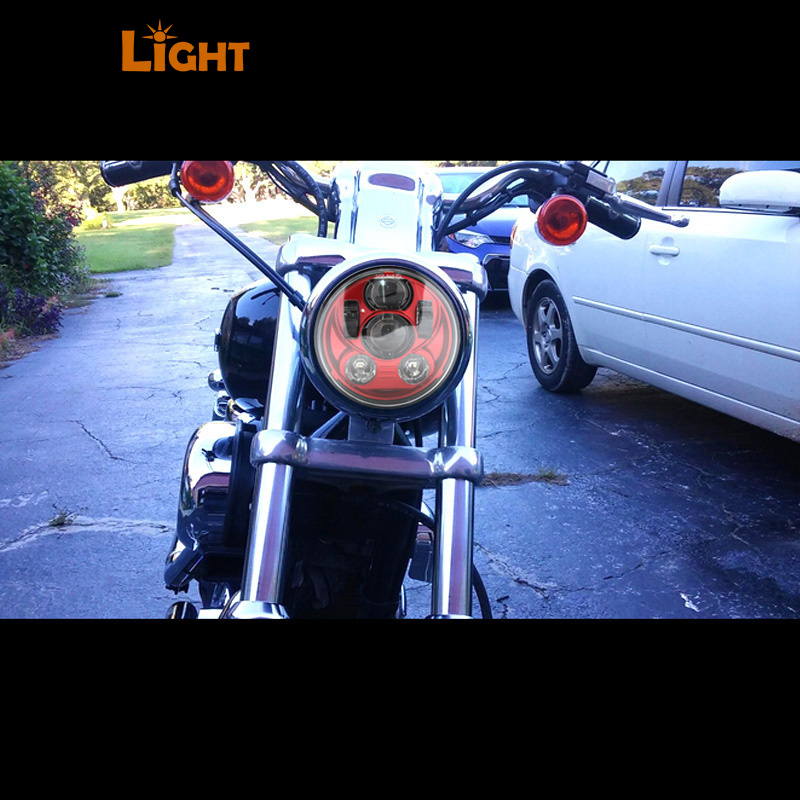 ФОТО Harley Motorcycles red Led Headlight 5.75 inch Daymaker Projector LED Headlight for Harley Motorcycles 883 Sportster / Dyna
