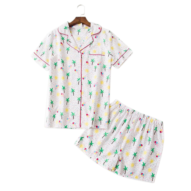 Summer short pyjamas women fresh coconut tree feminino pajamas sets women rayon simple casual shorts pijamas de las mujeres