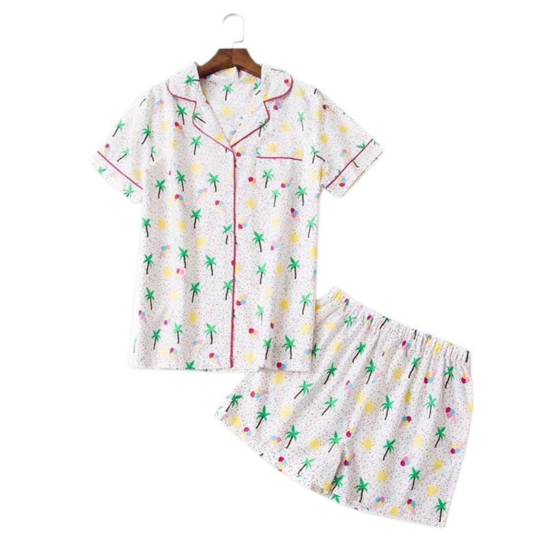 Summer short pyjamas women fresh coconut tree feminino pajamas sets women rayon simple casual shorts pijamas de las mujeres