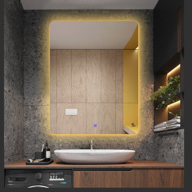 European Wall Mirror LED Light For Bathroom Big Mirrors mural Anti blur Smart Touch Control 220V Warm/White lamp Color Bluetooth