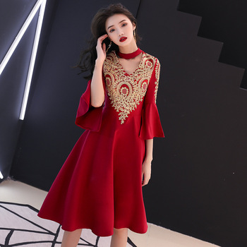 V Neck Formal Prom Party Gowns 2020 Flare Sleeve A Line Evening Dress Robe De Soiree Embroidery Classic Chinese Bride Dresses