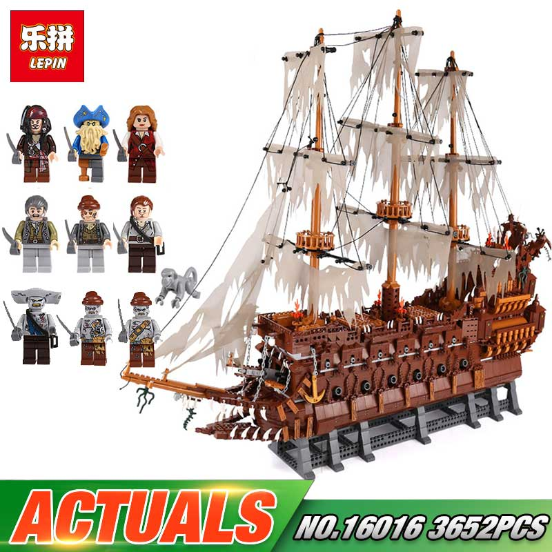 Lepin 16016 3652Pcs MOC Movies Series The Flying the Netherlands Set Children Birthday Gift Building Blocks Bricks Legoing Toys lepin 16016 3652pcs movie series flying the dutch blocks bricks toys for children compatible legoing pirates caribbean