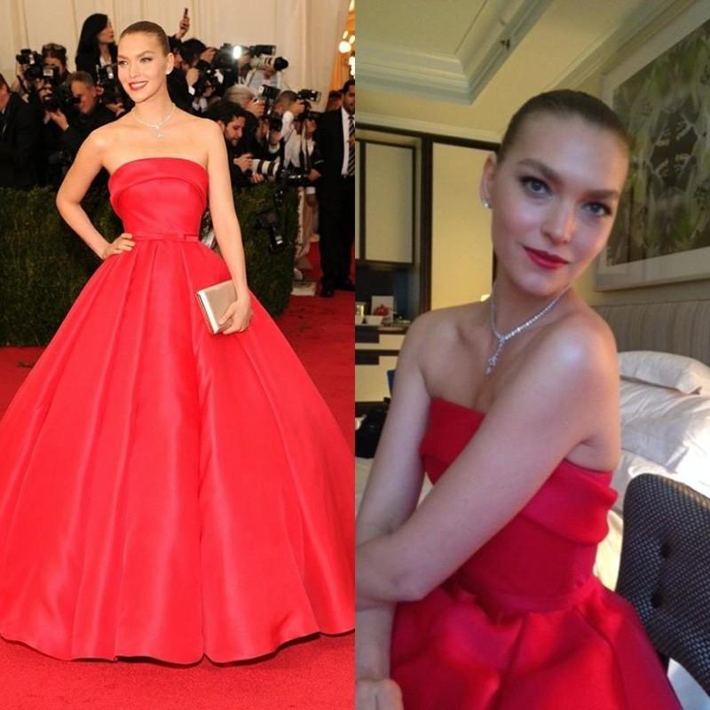 Arizona Muse Dresses Red Strapless Off The Shoulder Floor Length Elegant Met Gala Celebrity Dresses Tapetes De Quarto Gowns cheap evening Go