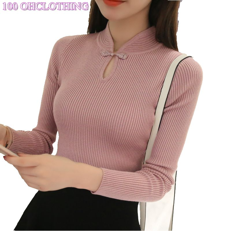 OHCLOTHING Chaude 2018 Hiver Nouvelle Mode Épaissie moitié col roulé chandail court femelle fil serré tout-allumette solide nouvelle chemise