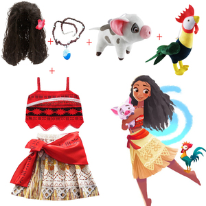 Moana Girl Dress with Necklace Pig chick Kids Adventure Outfit Children Princess Party Cosplay Costume Vaiana swimsuit Bikini(China)