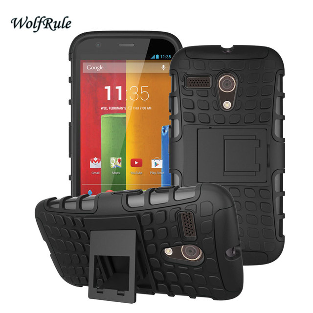For Capa Motorola Moto G Case Soft Silicone & Hard Plastic Case For Motorola Moto G XT1028 XT1031 XT1032 Phone Stand Cover