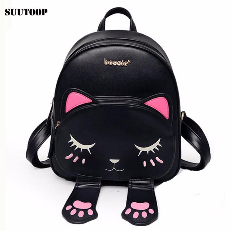 Cute Harajuku Cat Leather backpack