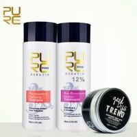 PURC 100 мл Лидер продаж взрывной туалетные принадлежности 12% бразильский Кератиновый лечебный гладкой восстановление волос и цветной воск ле...