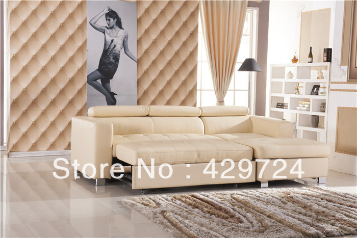Free Shipping Sofa Bed Modern French Design Top Grain Cattle Leather Set Combination Corner Cum