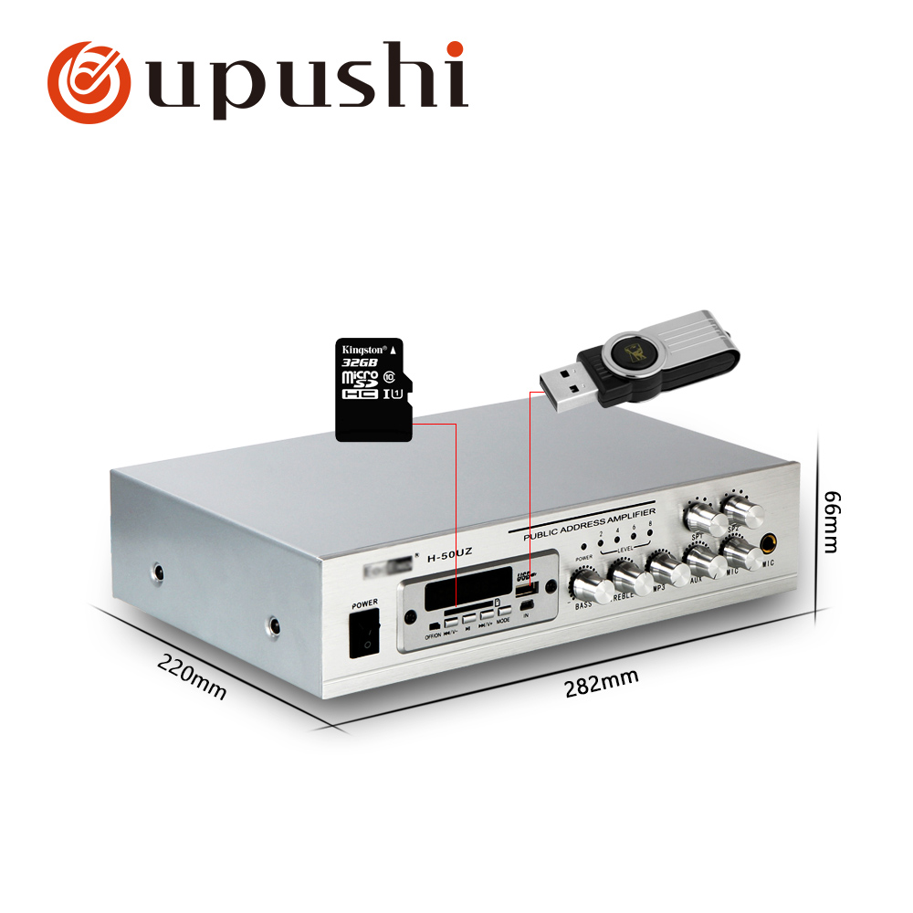 Oupushi pa system 50w home stereo amplifier bluetooth mini aduio amplifier small power amp with USB