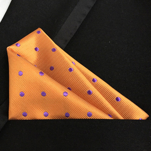 25x25 Cm Top Fashion Pocket Square Unique Orange With Purple Dots Handkerchief