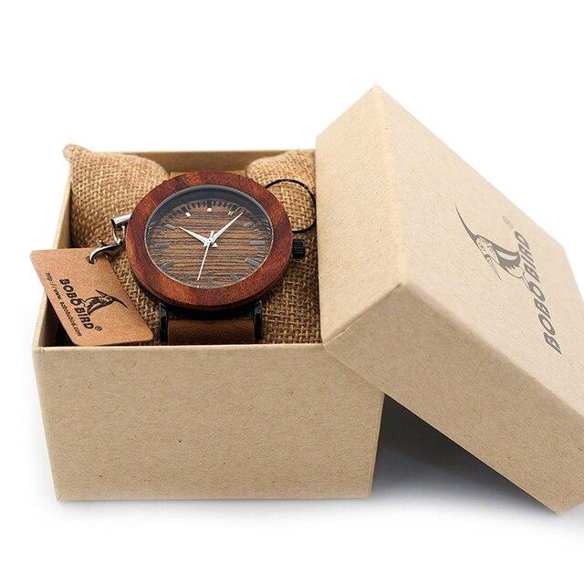 2017 БОБО птица Элитный бренд женские часы натуральная кожа ремень деревянные часы для дам подарки Relogio masculino C-K20