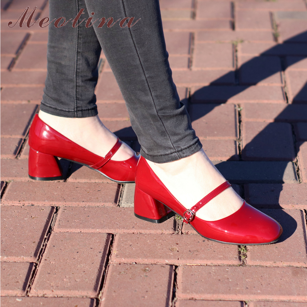 Meotina High Heels Shoes Women Mary Janes Shoes Patent Leather Med Heel Pumps Buckle Square Toe Ladies Shoes Red Plus Size 33-43