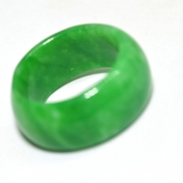 Koraba Natural Green Chinese Jewelry Gemstone Band Ring Jade Size 7 Stones For W