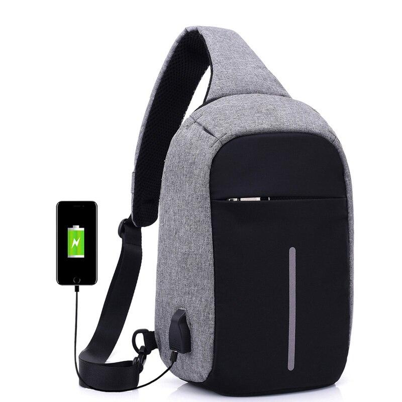 Fashion Sling Bag Women Men Shoulder Bag2017 New Deisgn External USB Charge Chest Pack Antitheft Mini Messenger Crossboda Bag