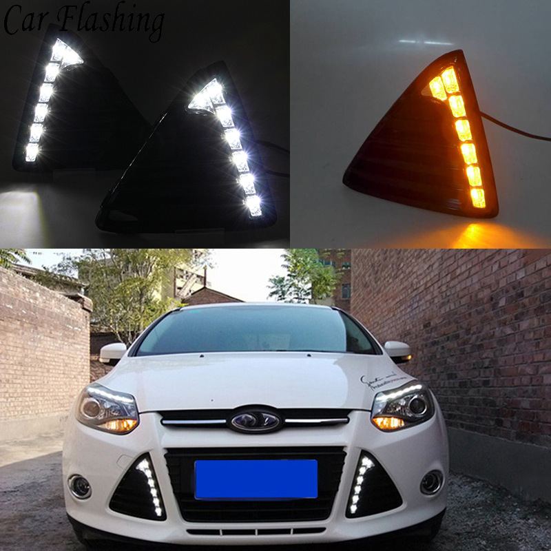 Us 36 99 10 Off Car Flashing 1pair For Ford Focus 3 2012 2013 2014 Drl Daytime Running Lights 12v Led Daylight Fog Lamp With Yellow Turn Signal In