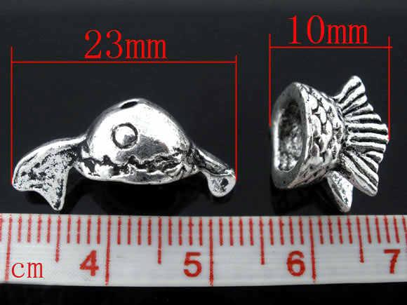 Tapas de cuentas de aleación de metal de Zinc peces de plata antigua (se adapta a cuentas de 10mm-14mm) patrón de peces 10mm-23mm x 10mm-13mm, 1 juego nuevo
