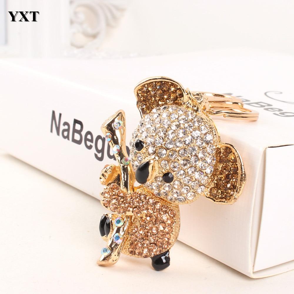 Koala Gold Bear Tree Lovely Charm Pendant Cute Crystal Purse Bag Key Chain Women Wedding Delicacy Gift Tiny(China)