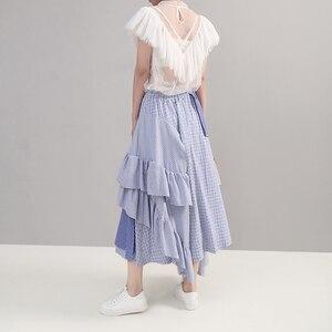 Image 2 - 2019 קוריאני סגנון נשים קיץ סימטרי כחול פסים מקרית חצאית קפלי אלסטי מותניים גבירותיי אופנתי חצאית Robe Femme 5243
