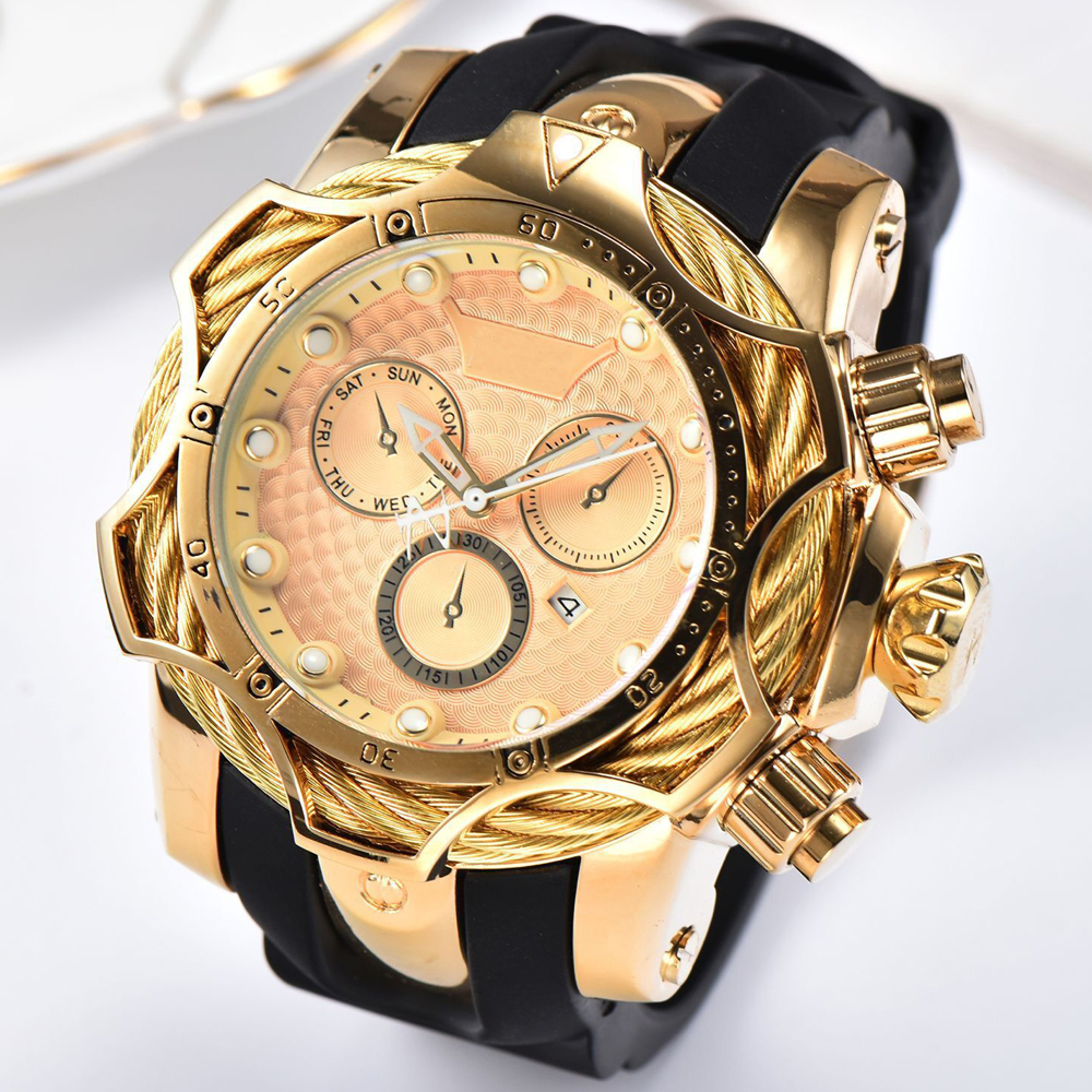 Relogio Dourado Masculino Luxury Brand Design Golden Quartz Watches Men Big Dial Military Rubber Wristwatches Male Gold Watch