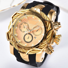 Relogio Dourado Masculino Luxury Brand Design Golden Quartz