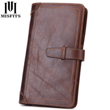MISFITS Genuine Leather Men Clutch Wallet Long Brand Passport Wallets Thin Travel Purse With Card Holder Male Cell Phone Case