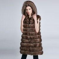 Women's Coat Winter Fur Collar Natural Fur Fox Coat Can Change Length Long Leather Coat Hat 2018 New Stripe Fashion Discount