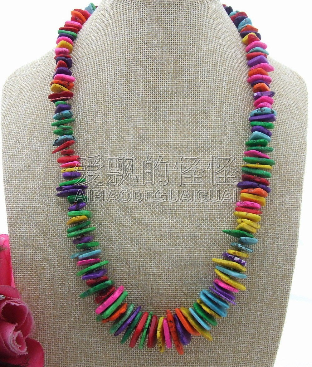 N030814 15 30mm Multi Color Graduated Necklace