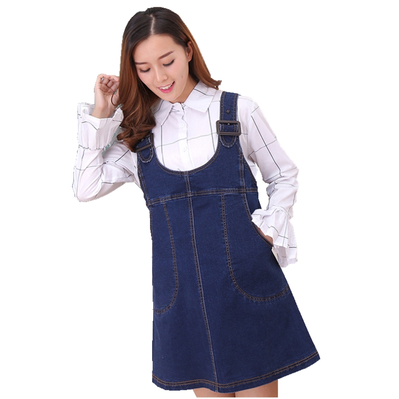 Fashion pregnant woman dress denim strap dress loose Pregnant womans dress vestidos Pregnant womans clothes Pregnant clothes