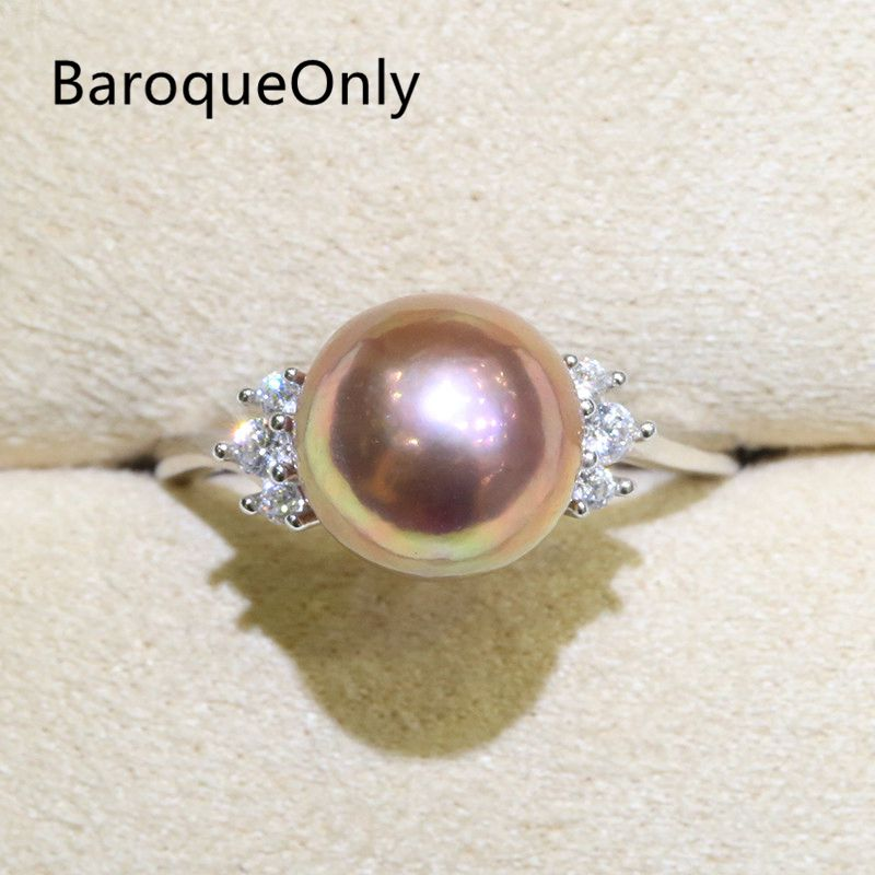 BaroqueOnly Zircon Inlaid 925 Rings Half-baroque Natural Color Freshwater Pearl Fashion Jewelry 9-10mm Edison Pearl Ring RI