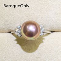 BaroqueOnly Zircon Inlaid 925 Rings Half baroque Natural Color Freshwater Pearl Fashion Jewelry 9 10mm Edison Pearl Ring RI