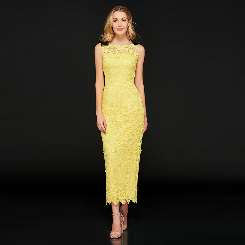 Tanpell sheath   prom     dresses   bright yellow lace sleeveless ankle length gown women homecoming party customed formal   prom     dress