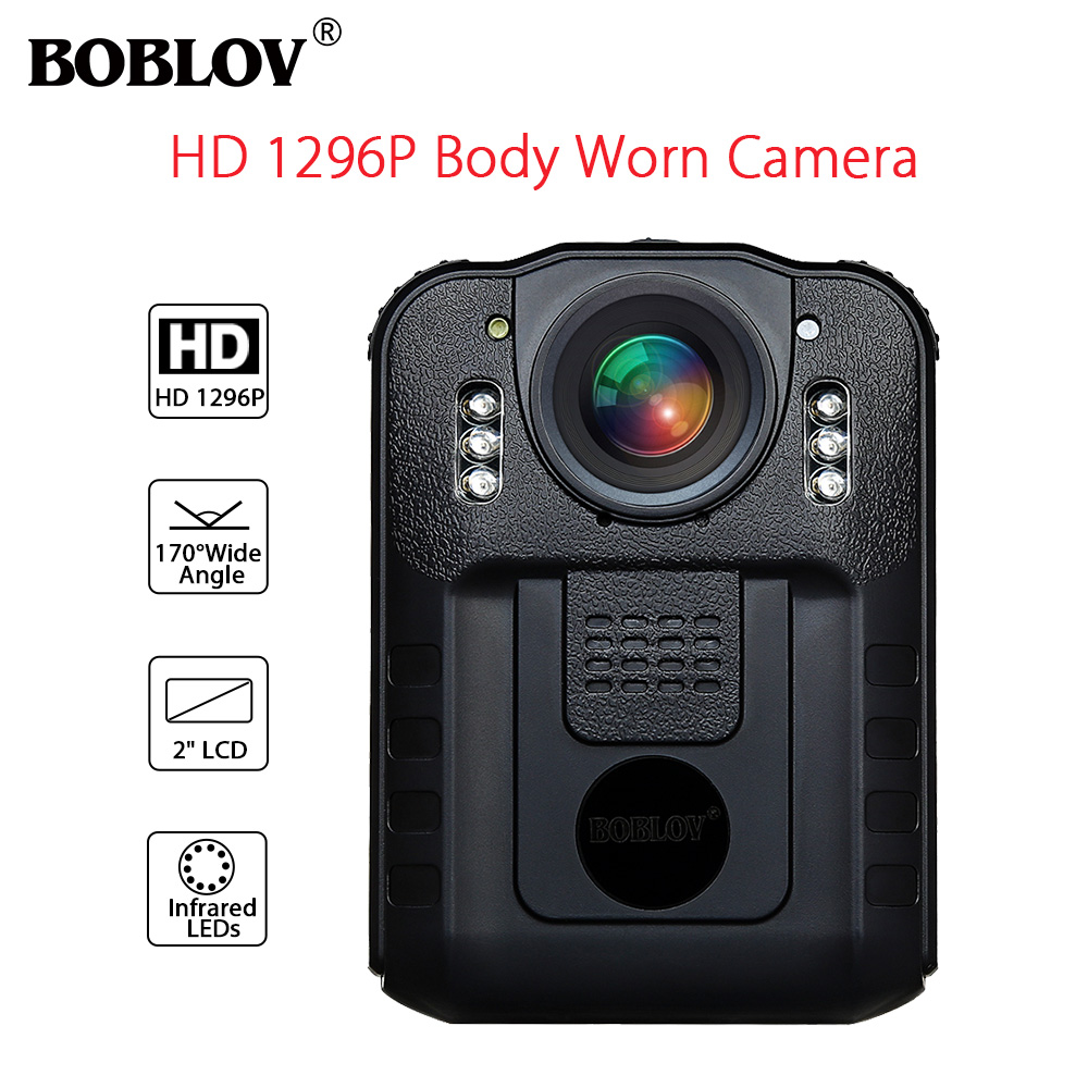 BOBLOV WN9 Wearable Body Worn Camera Novatek 96650 HD 1296P Police Cam 170 Degree 2 Inch Screen Security Mini Comcorder