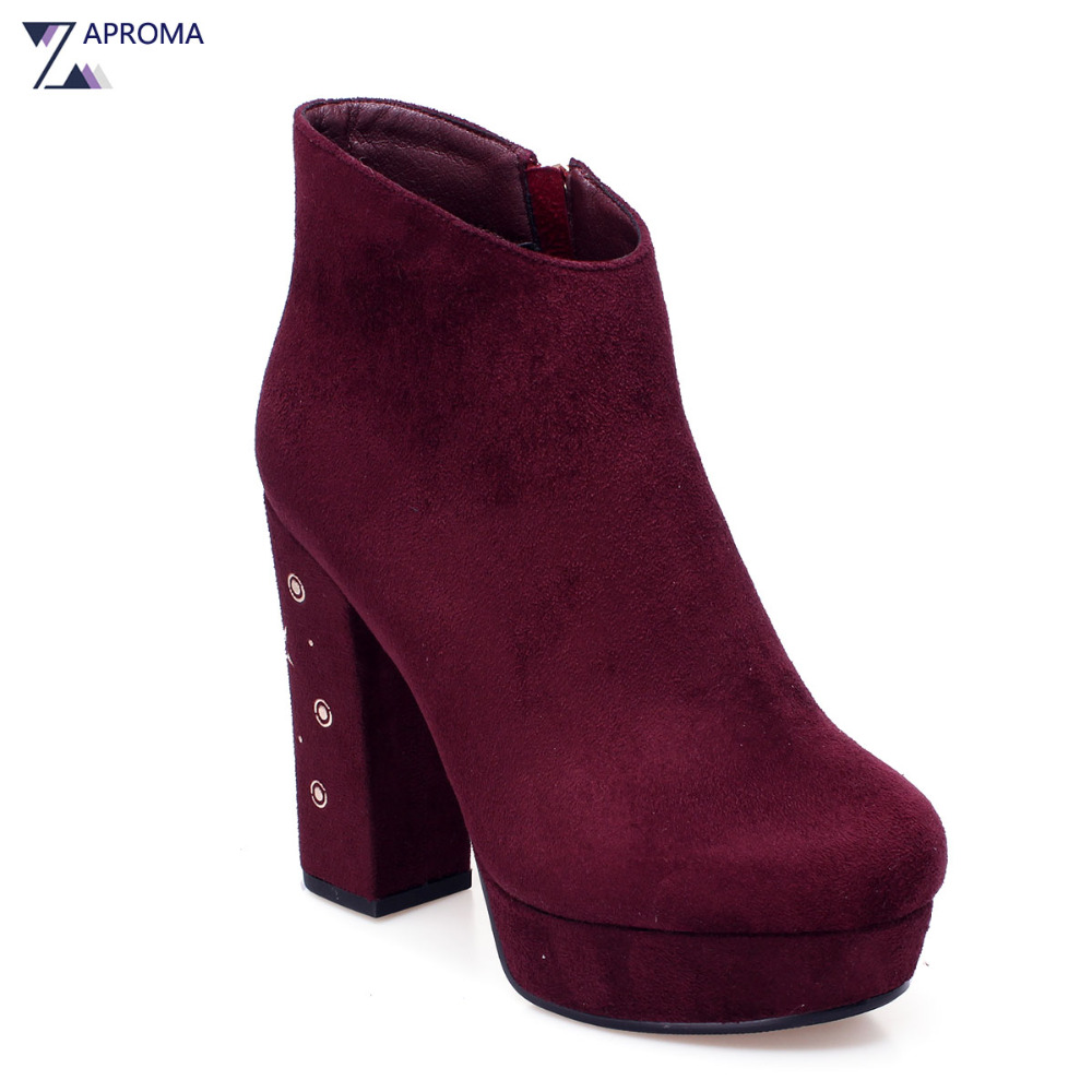 Women Sexy Platform Suede Wine Red Ankle Boots hunky Heel Short Plush Super High Heel Female Autumn Winter Round Toe 2018 Shoes custom metal platform round toe sexy women ankle boots 2016 booties shoes red chunky high heel suede autumn ladies fashion