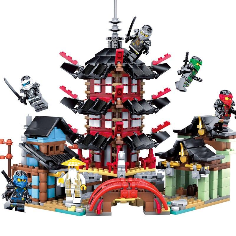 2018 Ninja templo 737 + piezas DIY bloques de construcción de juguetes educativos juegos para los niños Compatible legoing ninjagoes
