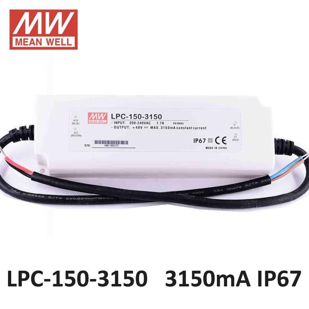 источник питания регулируемый Mean well LPC-150-3150 Постоянного Тока 3150mA светодиодный драйвер 180 ~ 305VAC вход 150 Вт питания 24-48VDC выход СВЕТОДИОДНЫЙ ист...