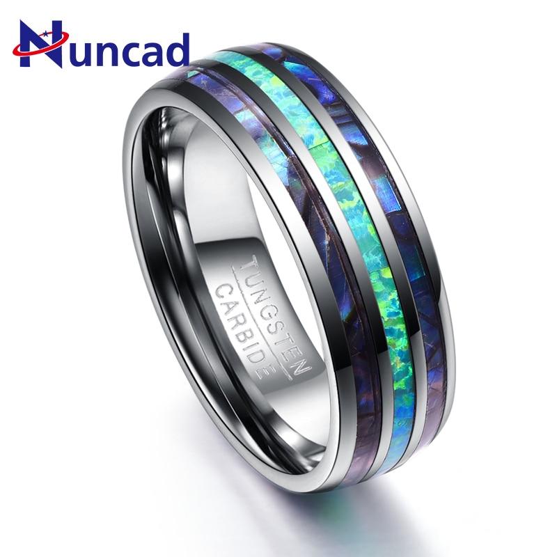 Inlay Abalone Shell + Opal + Abalone Shell Wolfram Stahl Ringe für Männer 8mm Breite Elegante Glatte Herren Ring top Grade