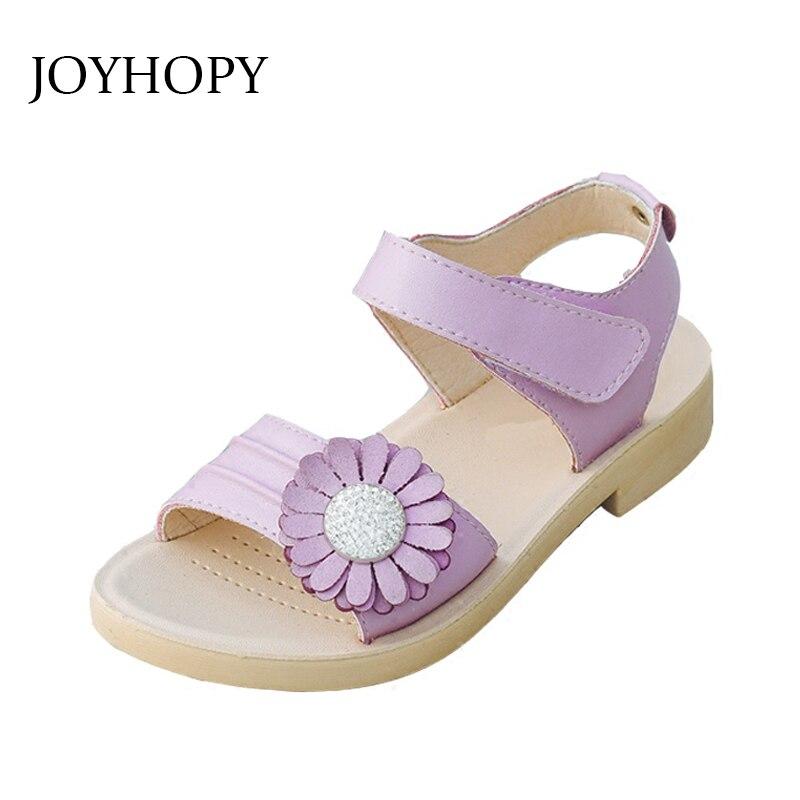 2018 Sommer Kinder Sandalen Mode Haken & Schleife Blume Flache Pricness Schuhe Mädchen Sommer Schuhe Mädchen Kleinkind Sandalen Kinder Schuhe